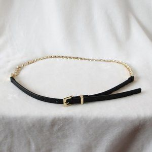 Accessories - Black belt with gold chain